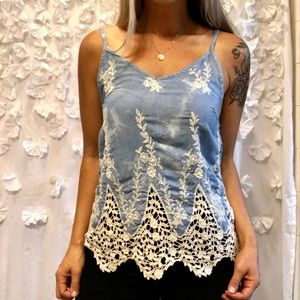 Light Blue Tank-top with Crochet-Lace